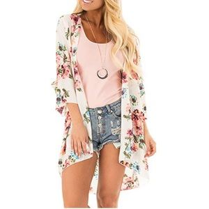 Sweaters - Women's Floral Print Loose Cardigan